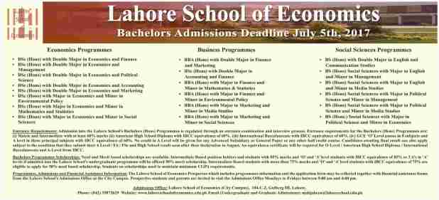 Lahore School Of Economics Bachelor Admission Deadline 2017 Application Form Last Date Test Schedule