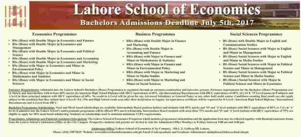 Lahore School Of Economics Bachelor Admission Deadline 2017 Application Form Last Date Test Schedule