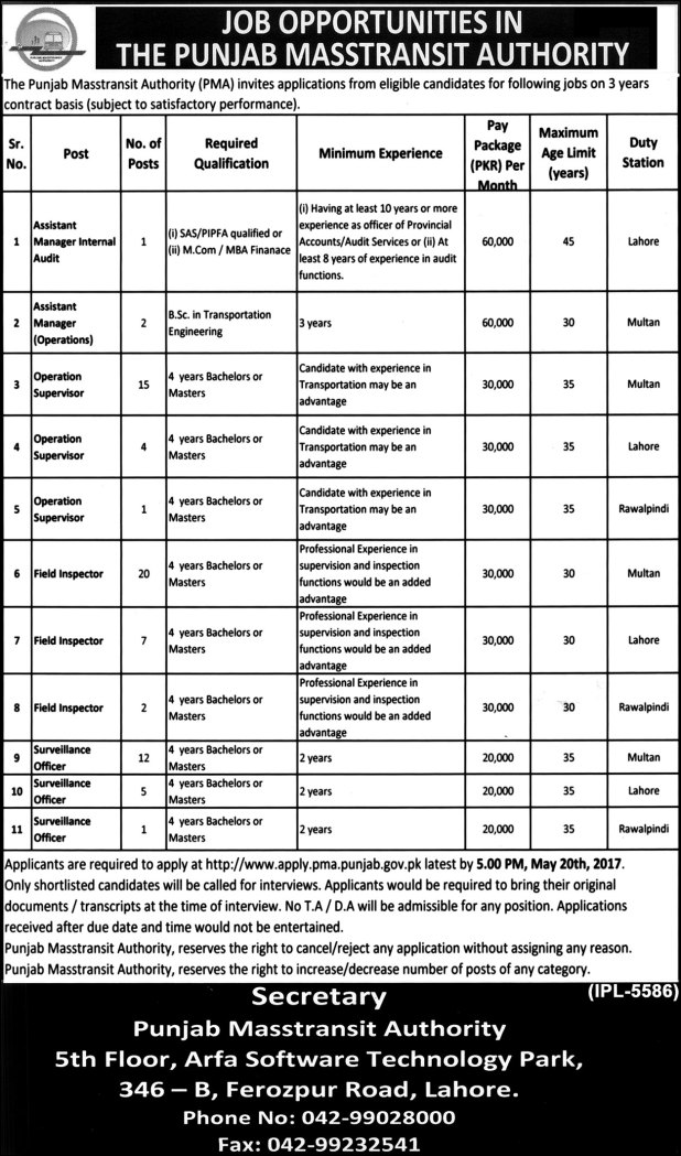 The Punjab Masstransit Authority Application Form Download For Jobs 2021 Test Result Merit List Final Selected Candidates List
