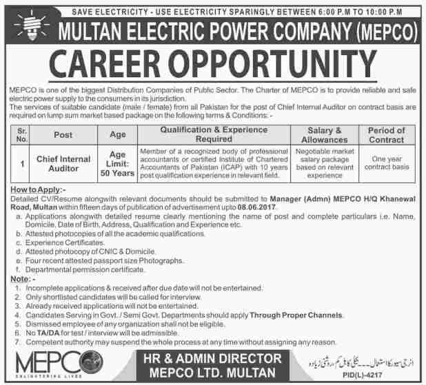 Multan Electric Power Company MEPCO Jobs 2021 Online Apply Procedure Required Experience