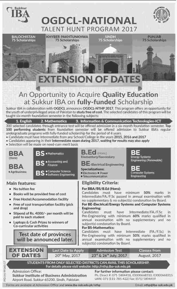 IBA Sukkur Admission 2017 by OGDCL National Talent Hunt Program Entry Test Last Date and Schedule Procedure to Apply