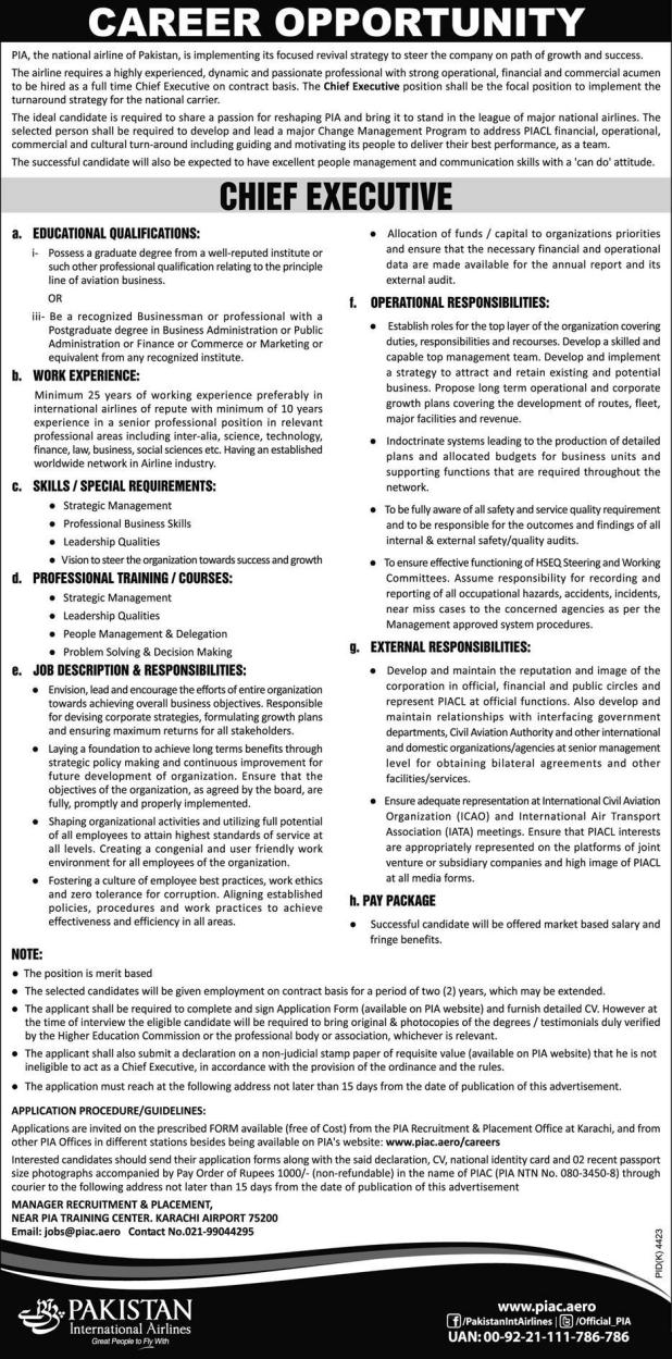 Pakistan International Airline PIA Job 2017 As Chief Executive Application Form The Requirement Last Date