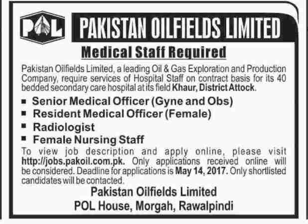 Pakistan Oil Fields POL Morgah Rawalpindi Jobs 2021 Senior and Resident Medical Officer Radiologist Female Nursing Staff