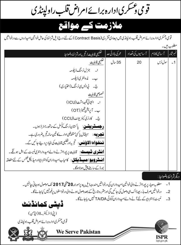 Armed National Cardiology Hospital Rawalpindi Jobs 2017 Application Form Download Last Date of Form Submission