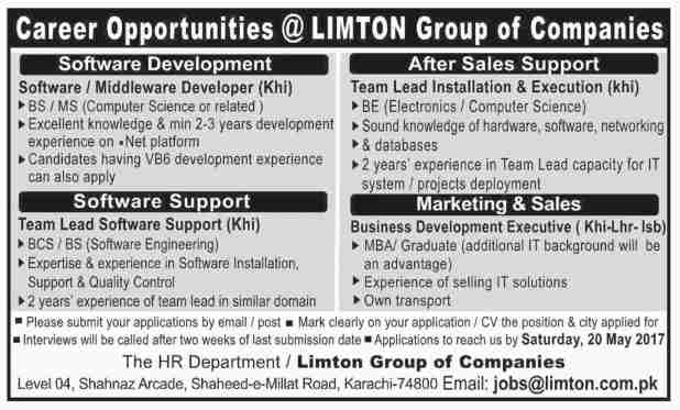 Career Opportunities Limton Group of Companies Jobs 2017 Application Form Download Written Test