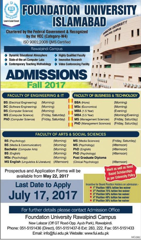 Foundation University Islamabad Admission 2017 Study Abroad Service Fee Structure Application Form Last Date Programs Offered Dates and Schedule