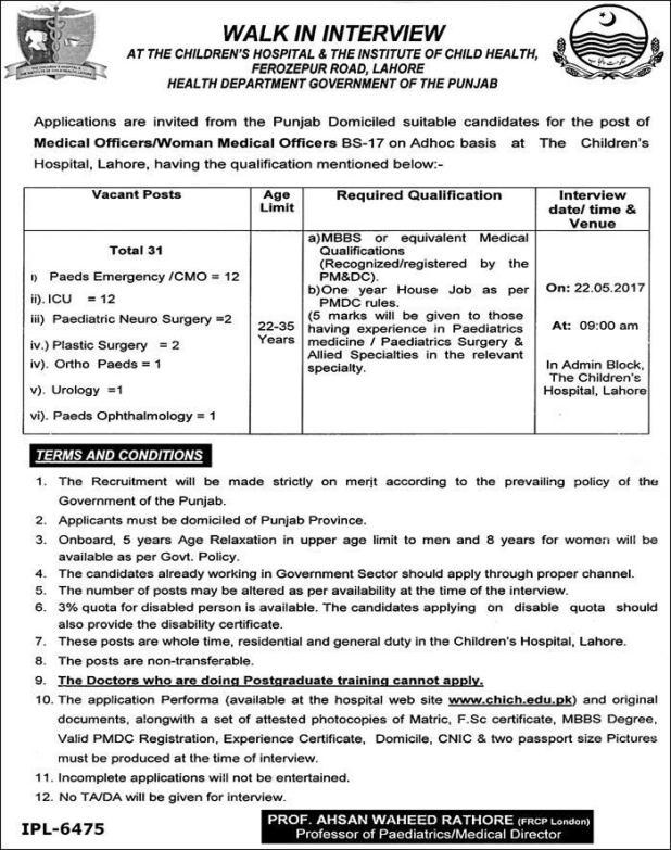 The Children's Hospital & The Institute Of Child Health Lahore Jobs 2017 Eligibility Criteria Last Date