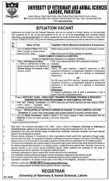 University of Veterinary and Animal Sciences UVAS Lahore Jobs 2017 Submission of Application Form Deadlines Terms and Conditions How to Apply