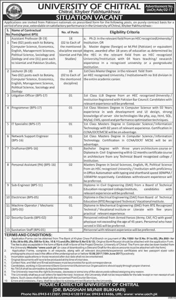 University Of Chitral KPK Jobs 2021 UOCH Apply Online Qualification and Experience Schedule