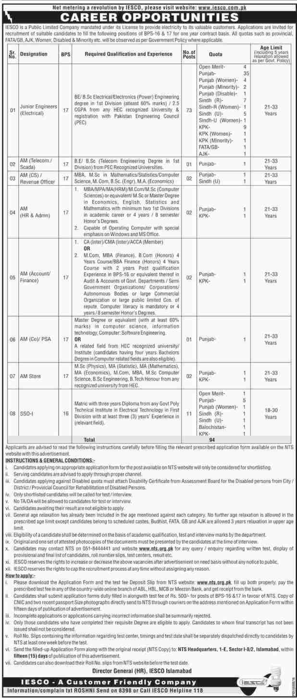 IESCO Govt Jobs 2017 Wapda Registration Form Test Dates NTS Sample Model Papers