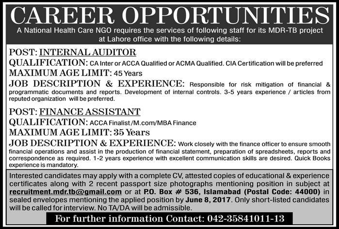 Career Opportunity A National Health Care Ngo Jobs 2017 Application