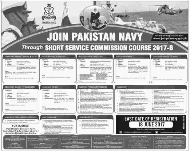 Pakistan Navy Short Service Commission Course 2017-B Apply Online Eligibility Criteria