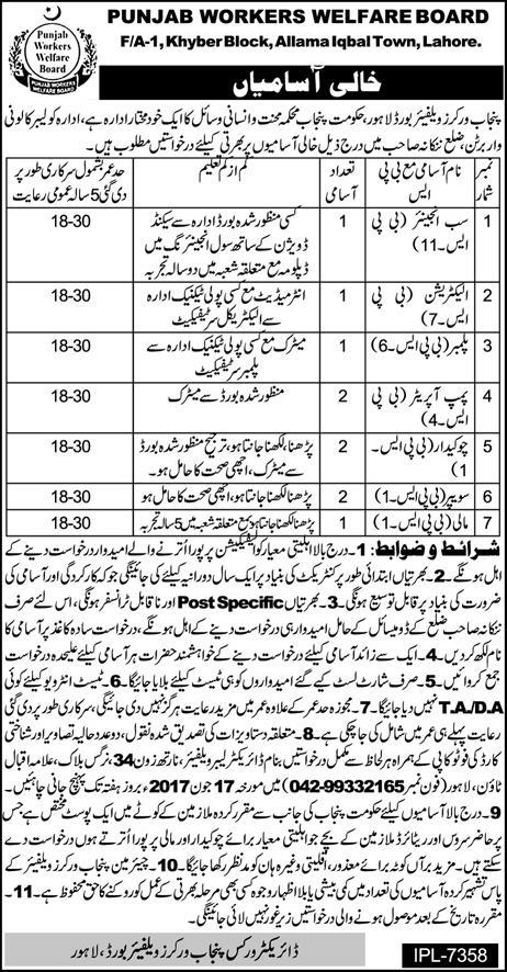 Punjab Worker Welfare Board Lahore Jobs 2017 Apply Online Experience Last Date Test Schedule Eligibility Criteria