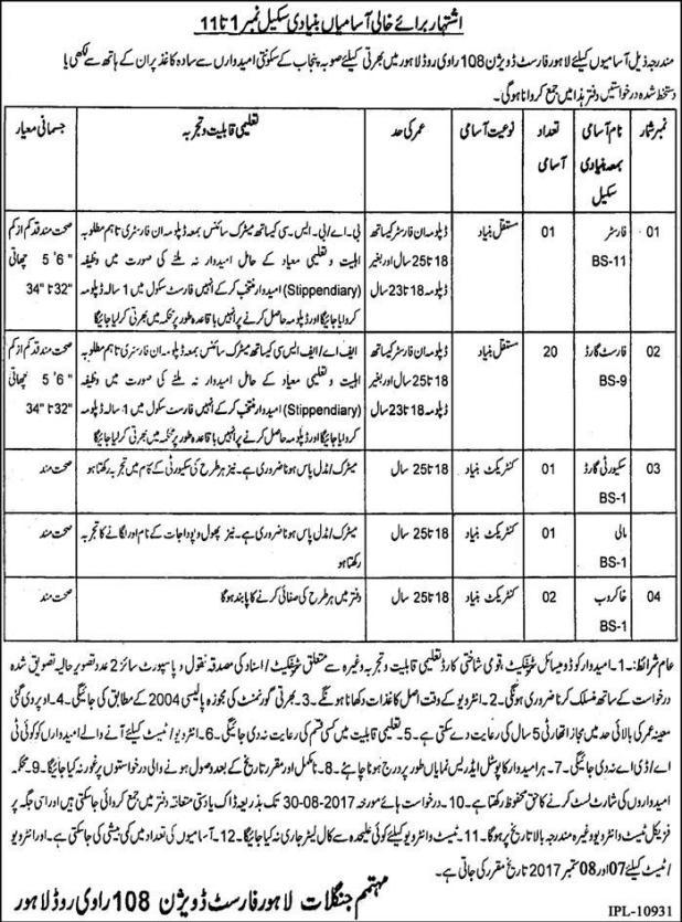 Forest Department Division Lahore Govt Jobs 2017 Application Form