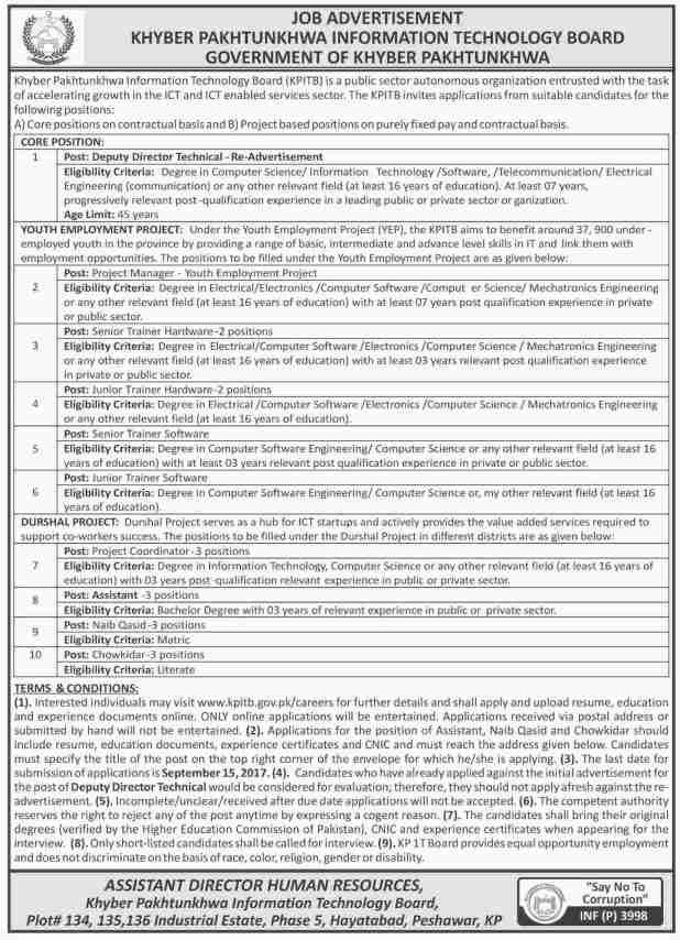 Khyber Pakhtunkhwa Information and Technology Board Govt Jobs 2017 Application Form Download Written Test Schedule