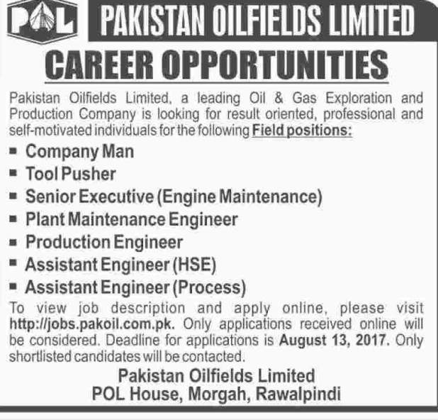 Pakistan Oilfield Limited Jobs 2017 How to Submit Application Form and Last Date Test Details