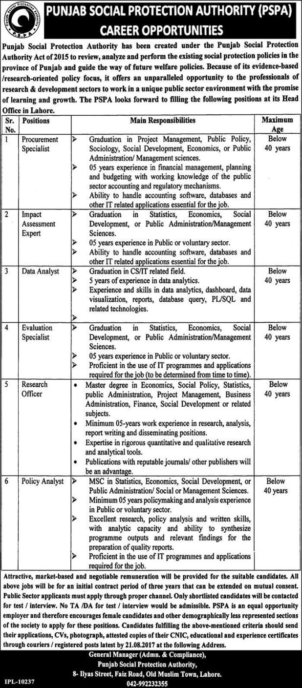 Punjab Social Protection Authority PSPA Jobs 2017 How to Download Application Form Written Test Dates