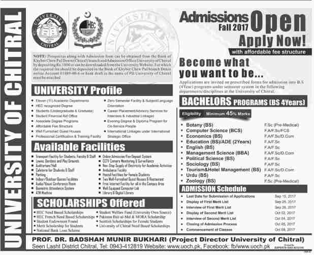 University of Chitral UOCH Masters and Bachelors Admission 2017 How to Apply Entry Test Dates