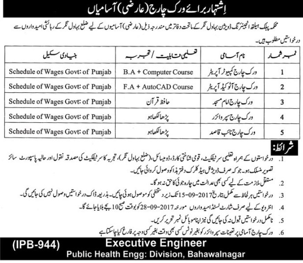 Department of Public Health Engineering Division Bahawalnagar Jobs 2017 Application Form Schedule and Dates