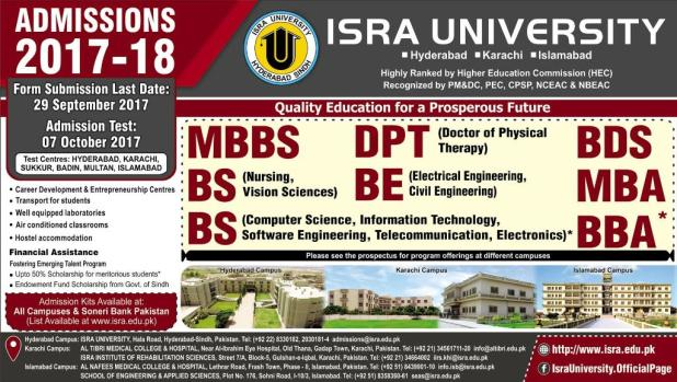 ISRA University All Campuses Admission 2017-18 Application Form Submission Last Date