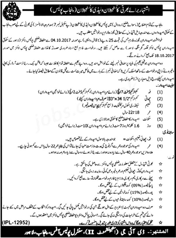Punjab Police Constable and Lady Constable Jobs 2017 Application Form Submission Last Date Eligibility Criteria