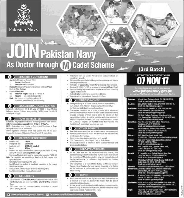 Join Pakistan Navy as Doctor Jobs 2017 through Cadet Scheme Online Registration Interview Schedule Eligibility Criteria