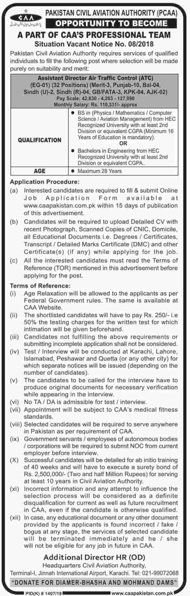 CAA Civil Aviation Authority Pakistan Jobs 2018 Qualification Experience