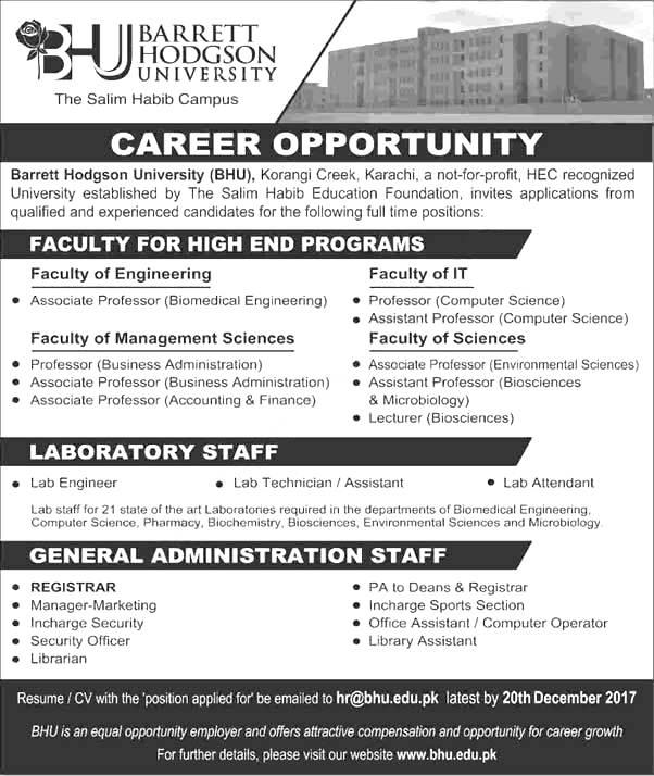 Barrett Hodgson University BHU Karachi Jobs December 2021 Professors Apply Online Eligibility Criteria