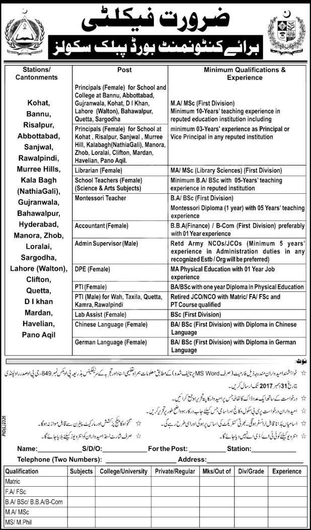 PO Box 849 Rawalpindi Cantonment Board Public Schools and Colleges Jobs 2021-18 Principals Eligibility Criteria Application Form