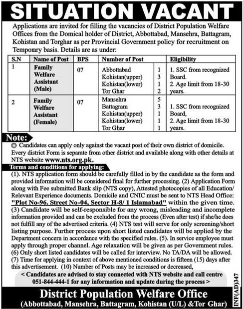 Kohistan Population Welfare Department PWD KPK Jobs December 2021 Application Form Merit List NTS Test Roll Number Slips Answer Key Result