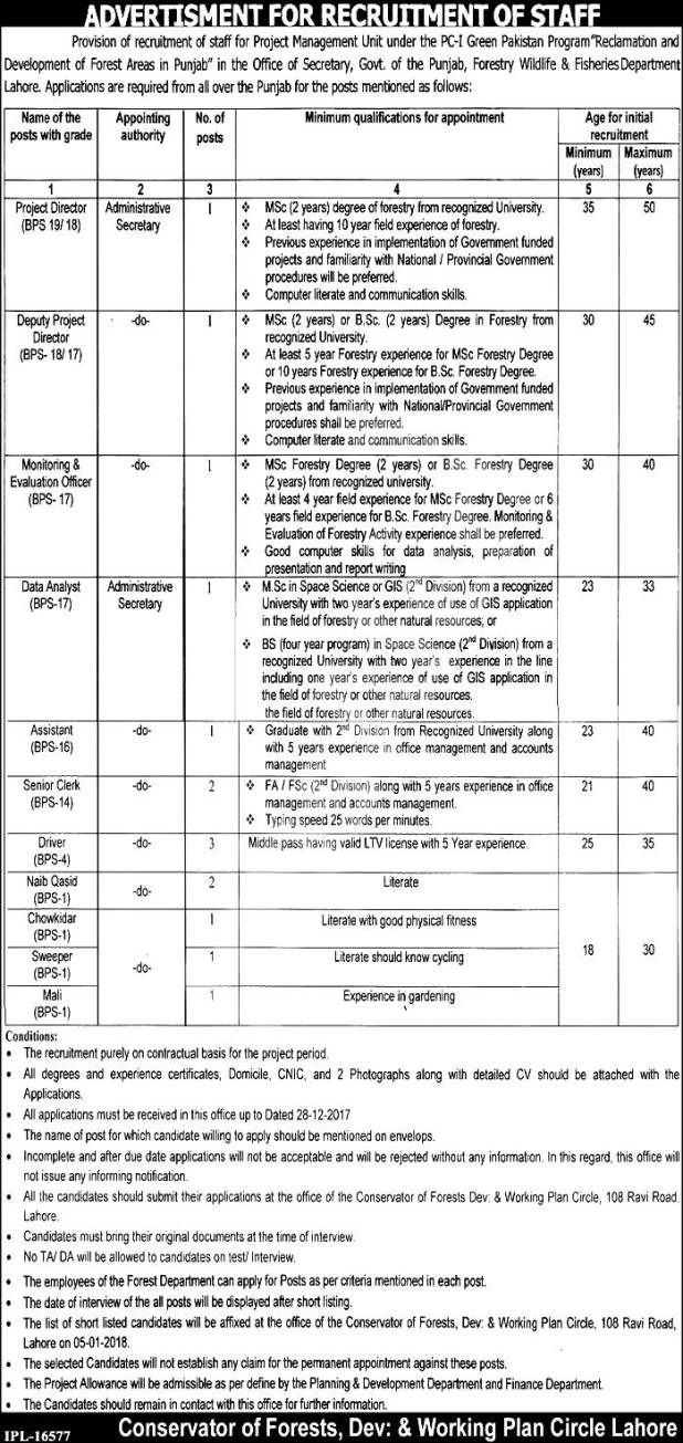 Lahore Forestry Wildlife and Fisheries Department Punjab Jobs 2017-18 Eligibility Criteria Interview Schedule