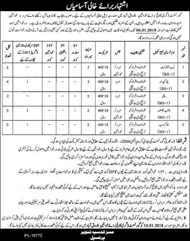 Govt Girls Degree College Farooqabad Sheikhupura Jobs 2017-18 Chowkidar Lab Attendant Application Form Interview Schedule