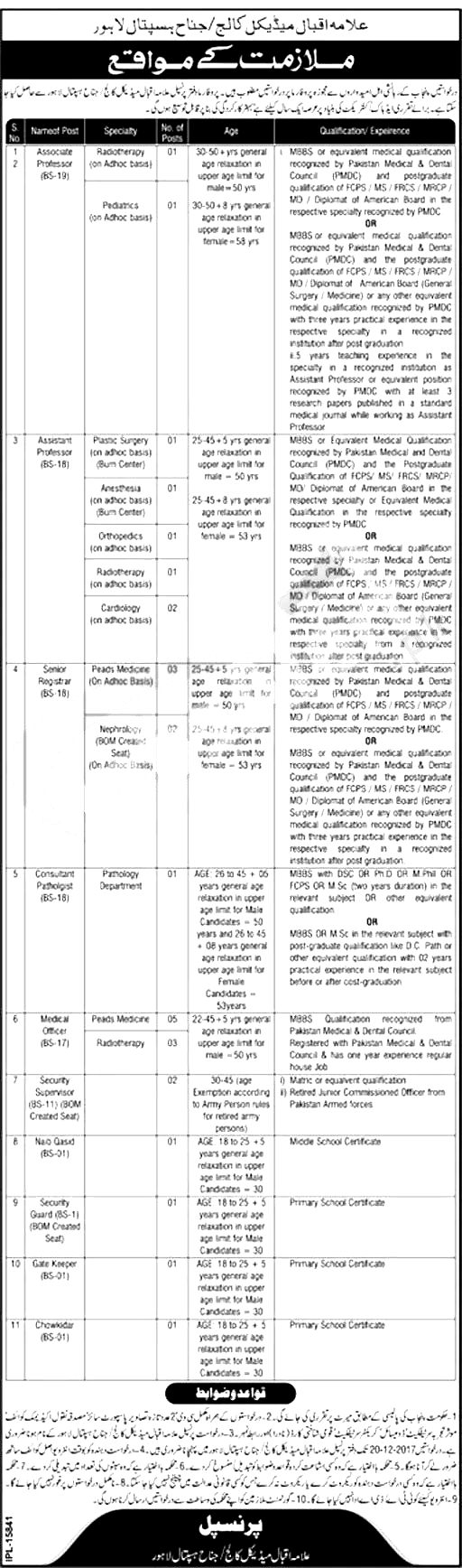Allama Iqbal Medical College AIMC Lahore Jobs December 2017 Medical Officer Interview Schedule Required Experience