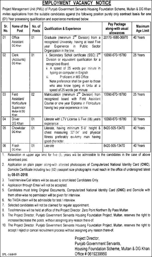 Punjab Govt Servants Housing Foundation PGSHF Jobs 2017-18 Application Form Required Experience