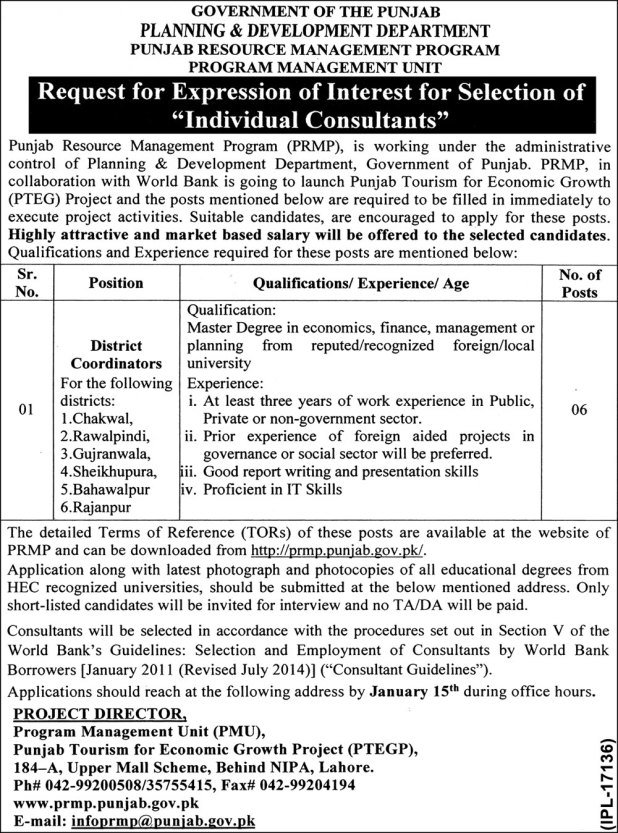 Punjab Resource Management Program PRMP Jobs 2021-18 District Coordinator Required Qualification and Experience Last Date
