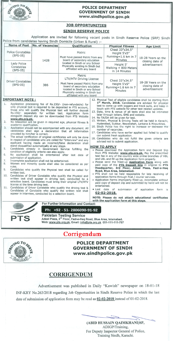 Sindh Police Karachi Jobs 2021-19 Driver Constable Merit List Roll Number Slips Result Answer Key Application Form NTS Test