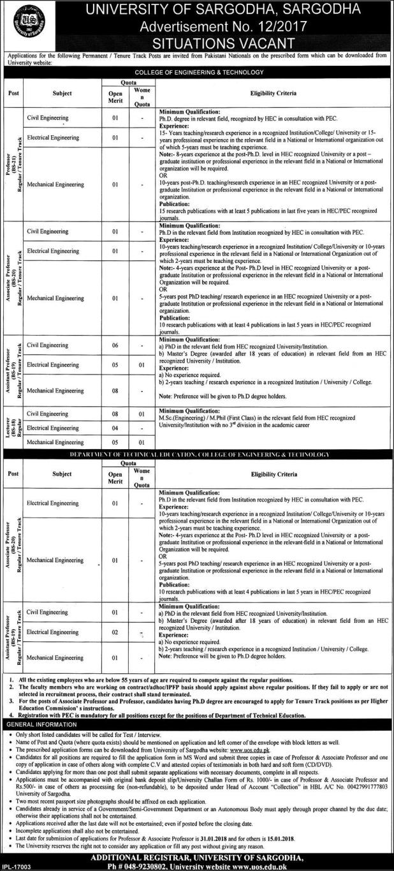 University of Sargodha UOS Jobs 2017-2018 Engineer Eligibility Criteria Online Apply