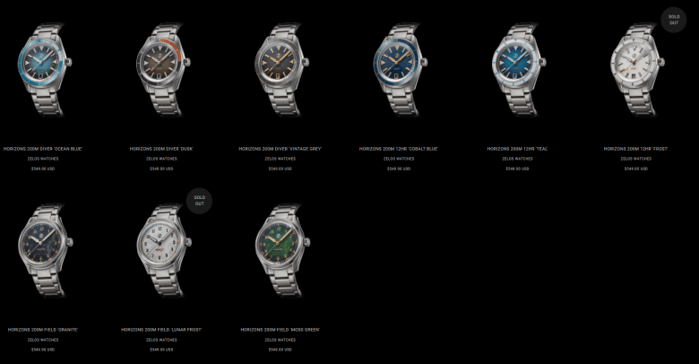The Zelos Horizons 39mm 200m collection released in 2020