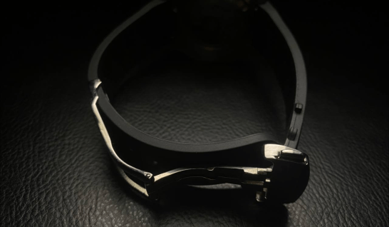 Deployant Clasp for watches, shown with a waffle rubber strap