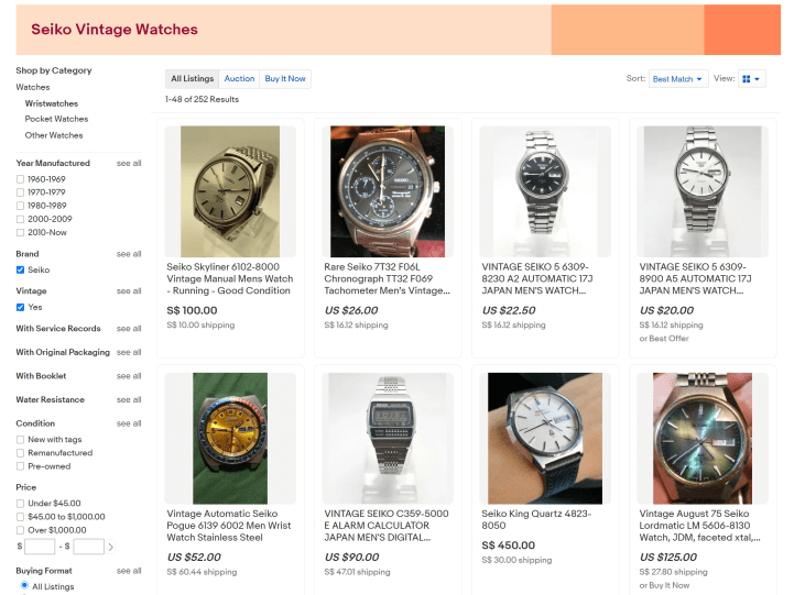 Ebay Marketplace Search For Vintage Seiko Watches