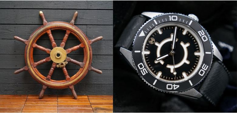 Comparison of Monsieur Helm One dial design and a ship's helm.