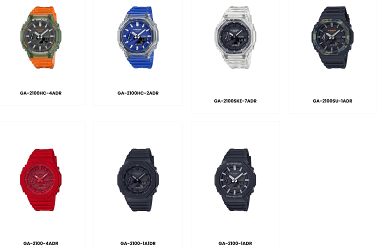 The G-Shock GA-2100 Collection(Note that the Grey GA2110ET-8A is not shown here)