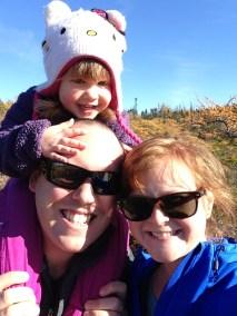 Family hike through the juniper trees