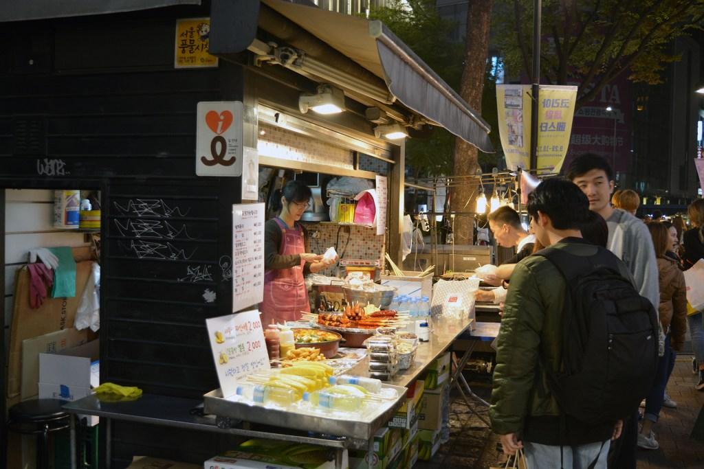 Seoul street vendors, at night