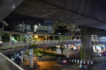 City streets at night in Bangkok, Thailand