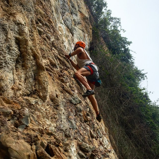 Rock climbing in Vang Vieng. The best thing to do in Vang Vieng