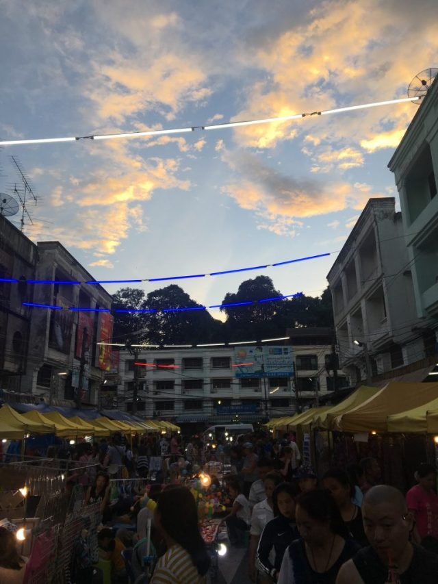sunset on the night market Walking street in Krabi