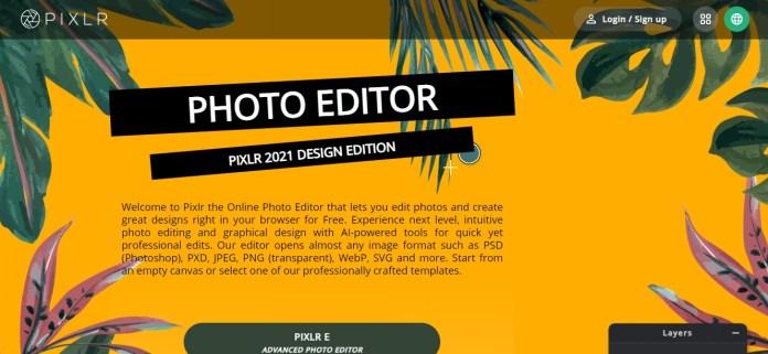 Pixlr Homepage Screenshot