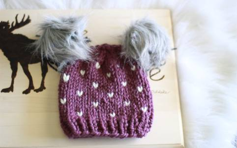 little hearts hat shown in the colour fig and fisherman