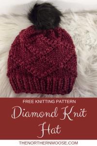 Free Knitting pattern, Diamond hat